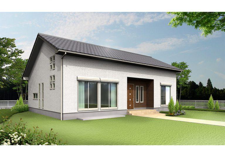 新築平屋建ての3Dイメージ